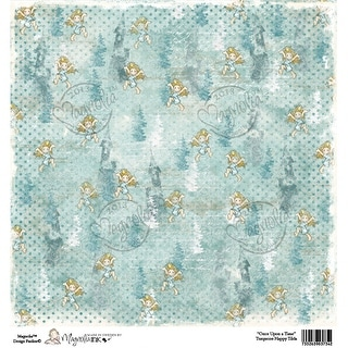 """Once Upon A Time Heavyweight Cardstock 12""""X12""""-Turquoise Happy Tilda - Blue"""