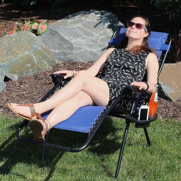 Shop Sunnydaze Navy Blue Zero Gravity Lounge Chair With