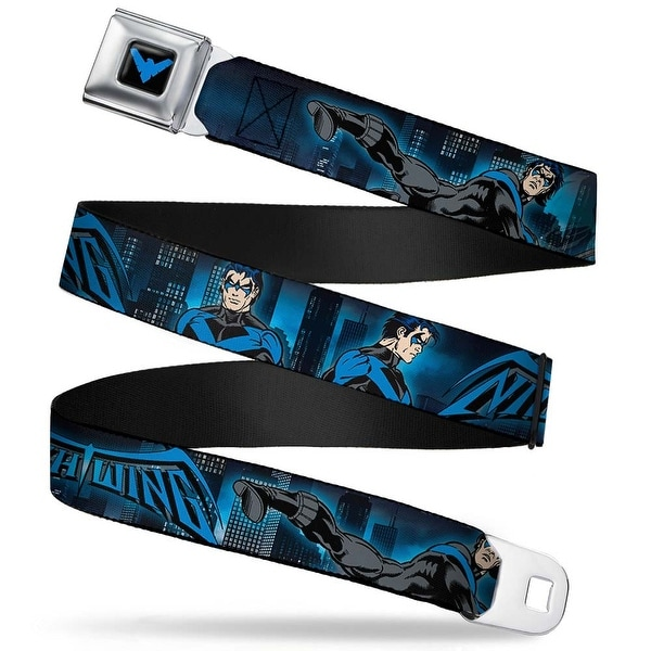 Nightwing Logo3 Full Color Black Blue Nightwing Action Poses Cityscape Seatbelt Belt