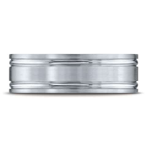 Platinum 7mm Comfort-fit Satin-finished with Parallel Grooves Carved Design Band