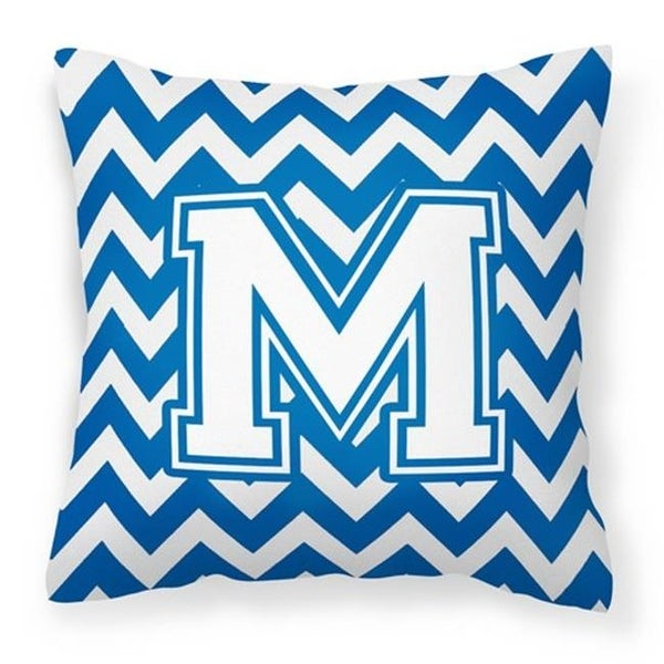 shop letter m chevron blue white fabric decorative pillow 14 x 3