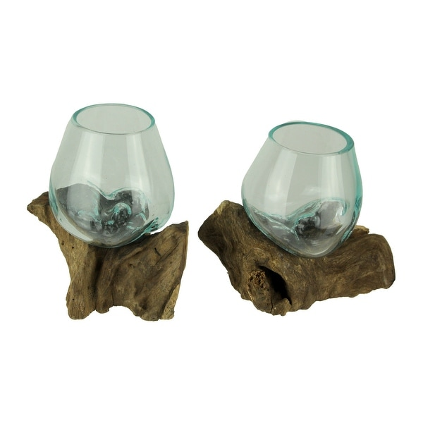 Molten Glass On Teak Driftwood Decorative Bowl Vase Terrarium Planter Set of 2. Opens flyout.
