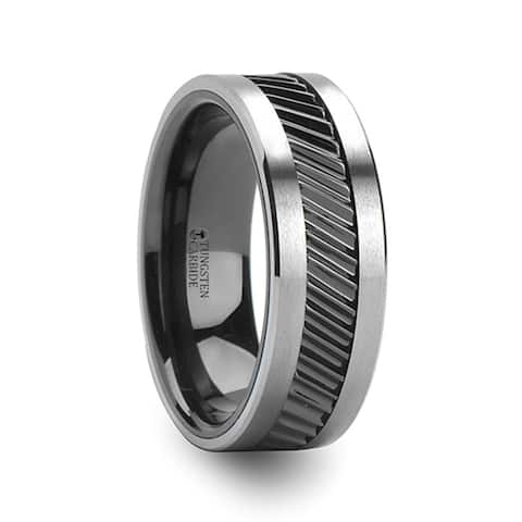 Thorsten HELIX Tungsten Rings for Men Tungsten Comfort Fit Wedding Ring Band Gear Teeth Pattern Black Ceramic