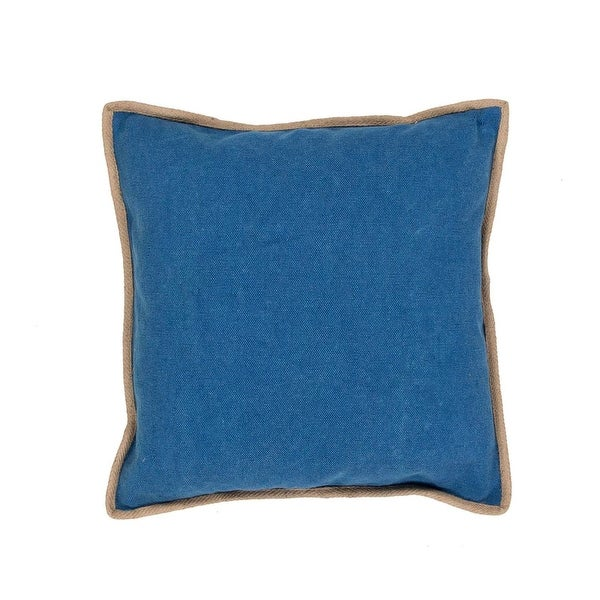 "22"" Royal Blue with Tan Trim Solid Square Decorative Throw Pillow"