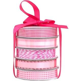 Spring Pink - American Crafts Premium Ribbon & Twine 5-Packs