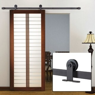Belleze 6FT Modern Style European Barn Roller Sliding Closet Door Hardware, (Frosted Black)