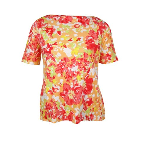 Charter Club Women's Boat Neck Floral Print Top - Rouge Red Combo - 0X