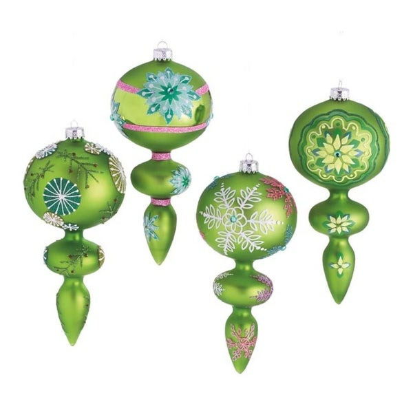 """Set of 4 Dazzling Green Snowflake Design Glass Finial Christmas Ornaments 7"""""""