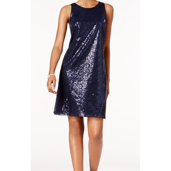 MSK Blue Womens Size 6 Scoop-Neck Sequin Embellished Shift Dress