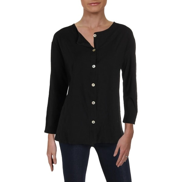 59bcd7bf Shop Hot Cotton Womens Juniors Button-Down Top 3/4 Sleeves Cotton - L - On  Sale - Free Shipping On Orders Over $45 - Overstock - 27502348
