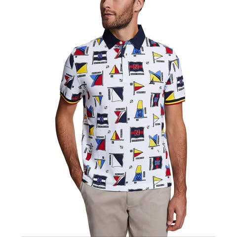 Nautica Mens Classic Fit Short Sleeve Flags Logo Polo Shirt, Adult