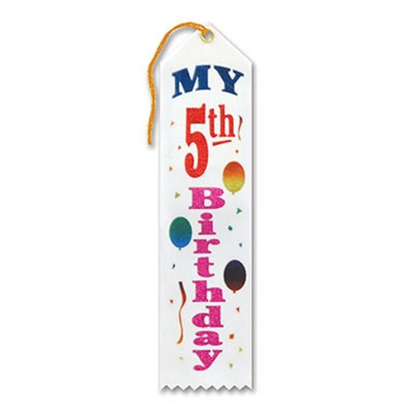 "Pack of 6 White ""My 5th Birthday Award"" School Award Ribbon Bookmarks 8"" - N/A"
