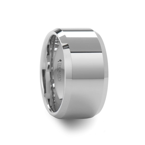 THORSTEN - LICHFIELD 12 mm White Tungsten Wedding Band with Beveled Edges and Polished Finish