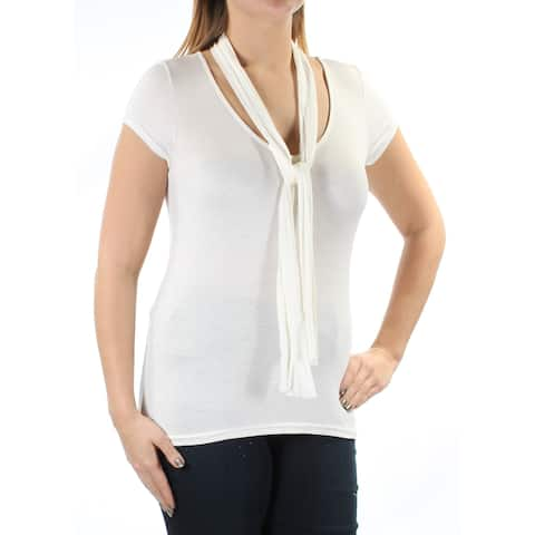 POLLY & ESTHER Womens Ivory INCLUDES SCARF Short Sleeve Scoop Neck Top Size: S