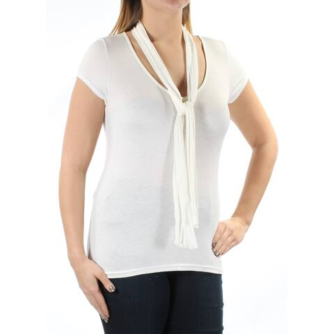 POLLY & ESTHER Womens Ivory INCLUDES SCARF Short Sleeve Scoop Neck Top Size: L