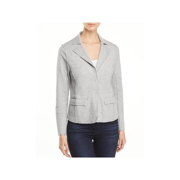 Nic + Zoe Womens Modern Two-Button Blazer Heathered Knit