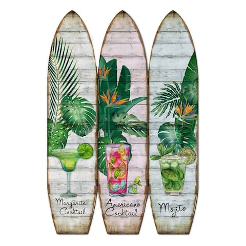 Surfboard Shaped Palm Leaf and Drinks Print 3 Panel Room Divider, Multicolor - 71 H x 2 W x 47 L Inches
