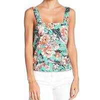 Abound Green Womens Size XL Floral Print Square Neck Tank Top