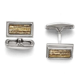 Chisel Stainless Steel Polished Creme/Black Enameled Cuff Links