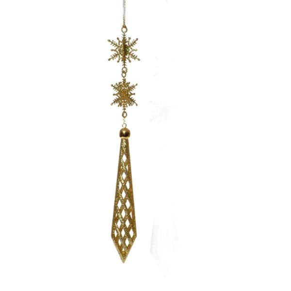 Gold Glittered Snowflake Finial Christmas Ornament #2714127