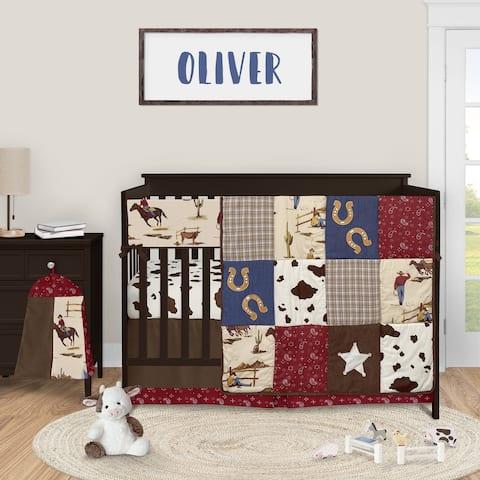 Wild West Cowboy Collection Boy 5-piece Nursery Crib Bedding Set - Red Blue and Tan Western Horse