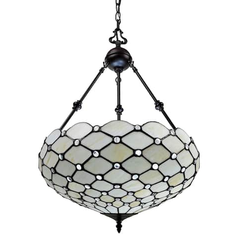"Tiffany Style Ceiling Hanging Pendant Lamp 18"" 2 Lights, White AM1117HL18B Amora Lighting"