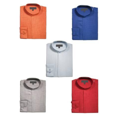 Men's Collarless Mandarin Banded Collar Long Sleeve Dress Shirt