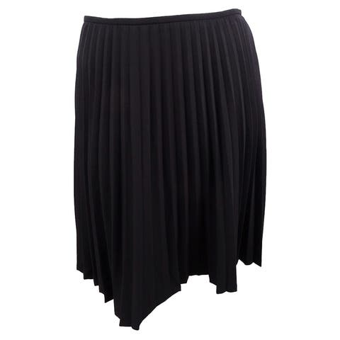 Calvin Klein Women's Petites Knee Length Knife Pleated Skirt - Black