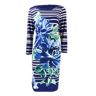 Vince Camuto Women's Printed Stripe Long Sleeve Dress