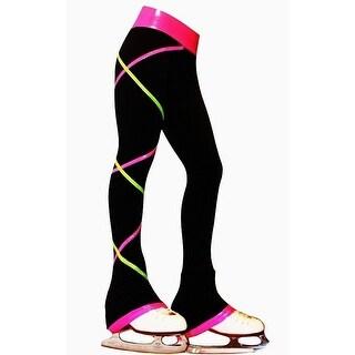 Ice Fire Skate Black Criss Cross Pink Lime Skating Pants Girls 6-14