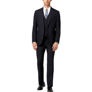 Kenneth Cole Reaction Slim Fit Black and Navy 3pc Suit 44 Long 44L Pants 38W