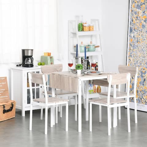 HOMCOM Modern 5-Piece Dining Table Set for 4 with Foldable Drop Leaf, 4 Chairs, and Metal Frame for Small Spaces, White