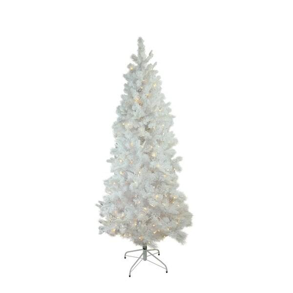 "6.5' x 39"" Pre-Lit Flocked White Pine Slim Artificial Christmas Tree - Warm White LED Lights"