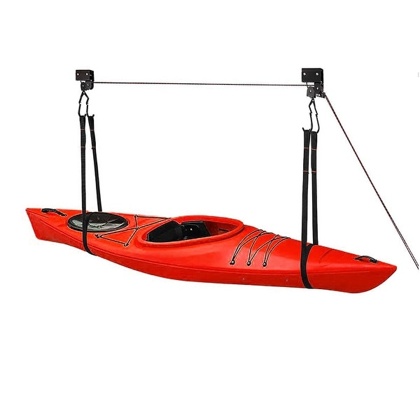Great Working Tools Hanging Kayak Canoe Hoist Lift, 2 Pulley System - 125 lb Cap - Black. Opens flyout.