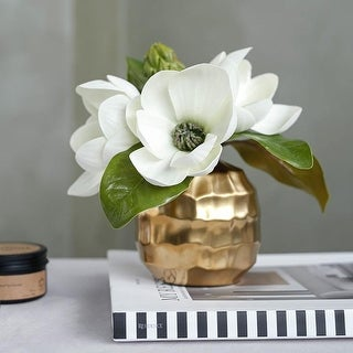 "FloralGoods Artificial Magnolia Flower in Metal Gold Vase 8.6"" Tall"