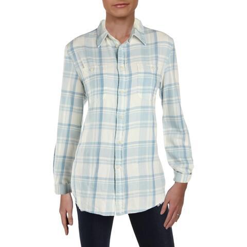 Polo Ralph Lauren Womens Button-Down Top Check Print Long Sleeves - M