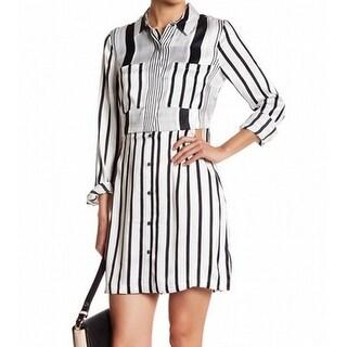Kendall + Kylie NEW White Womens Size Large L Striped Shirt Dress Silk