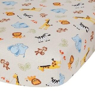 Bedtime Originals Beige Jungle Buddies Fitted Crib Sheet