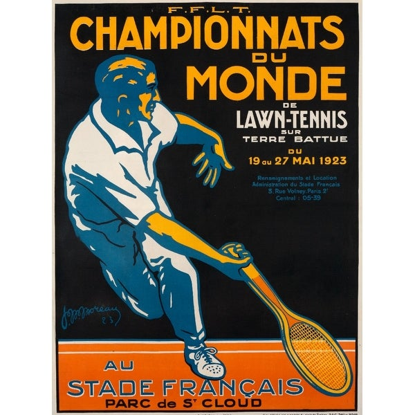 Championnats du Monde de Lawn Tennis Moreau 1923 (Acrylic Wall Clock)