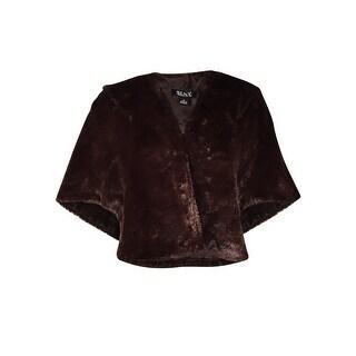 S.L. Fashions Women's Solid Faux Fur Shawl Capelet - Brown