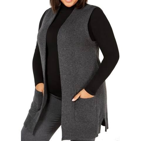 Karen Scott Women's Sweater Charcoal Gray Size 1X Plus Vest Sleeveless