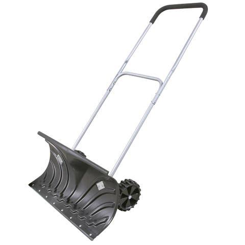 Rolling Snow Pusher - Shovel on Wheels - Black