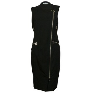 Calvin Klein Women's Multi Zipper Trim Sleeveless Sheath Dress - 4