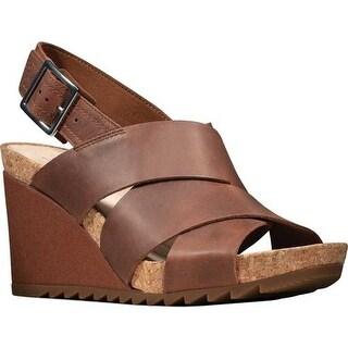 Clarks Women's Flex Sand Wedge Sandal Tan Leather