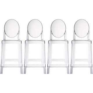 """2xhome Set of Four (4) Clear 25"""" Seat Height Barstool Modern Plastic Stool"""
