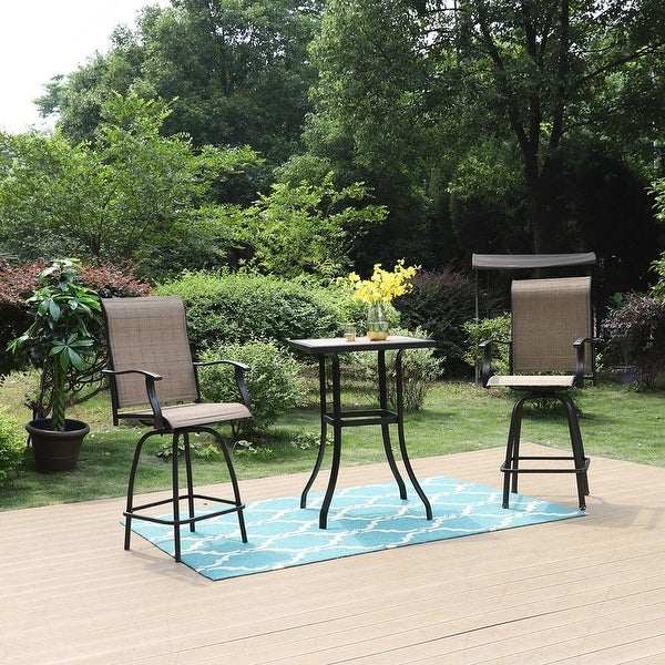 3 PC Swivel Bar Stools Set Bar Height Bistro Sets Outdoor. Opens flyout.