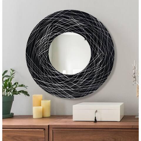 """Statements2000 Silver/Black Round Wall Mirror Functional Art by Jon Allen - Mirror 120 - Black - 23"""""""