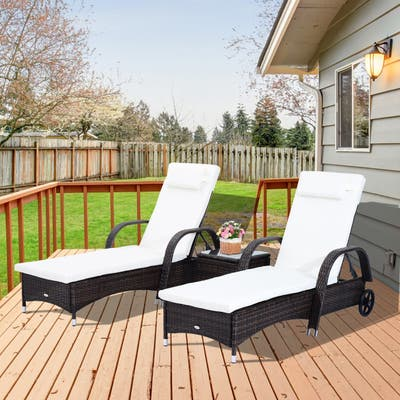Edgewater 3-piece Adjustable Rattan Chaise Lounge Chair Set by Havenside Home