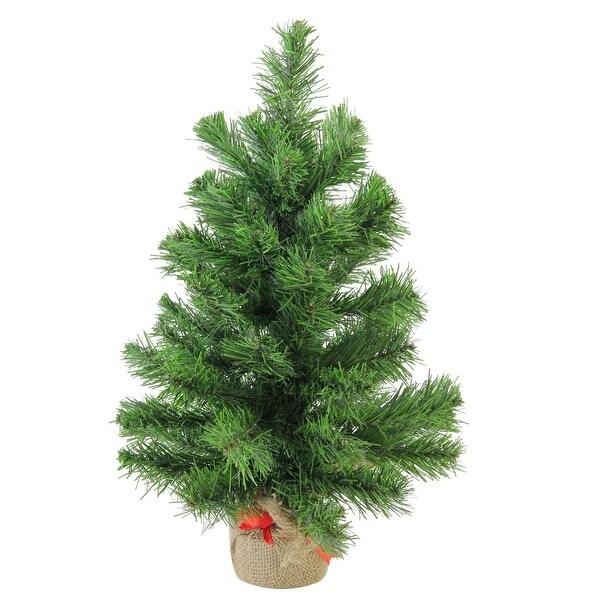 "18"" Mini Pine Artificial Christmas Tree in Burlap Base - Unlit - green"
