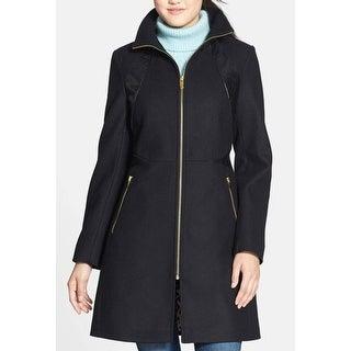 Via Spiga NEW Black Womens Size 4 Faux-Leather Trim Zip-Front Coat